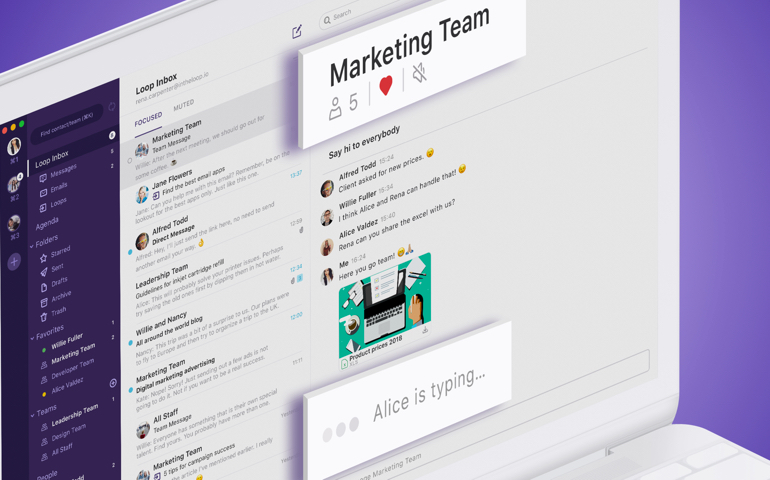 Loop Email team chat messaging collaboration