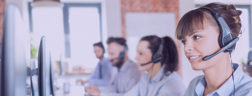 A call center with a team of people.