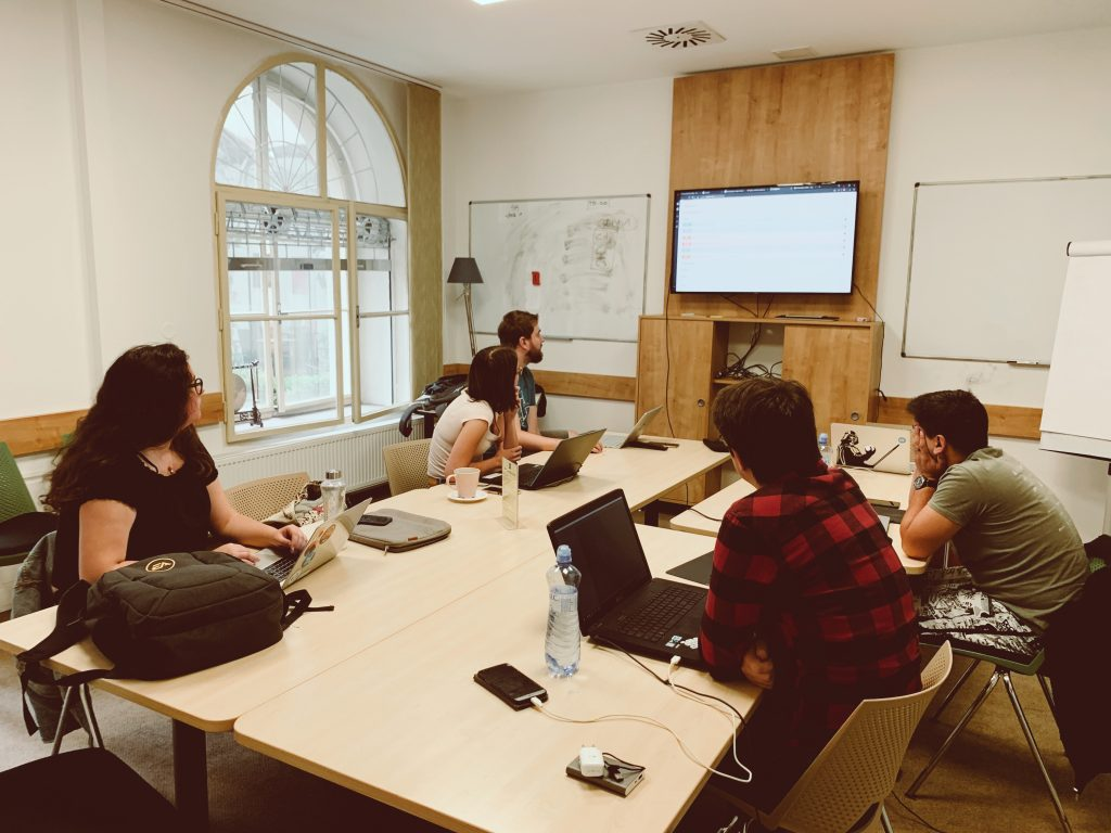 Participants working in the co-working space.