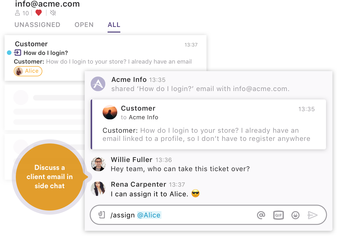 Discuss an email in side chat in shared inbox