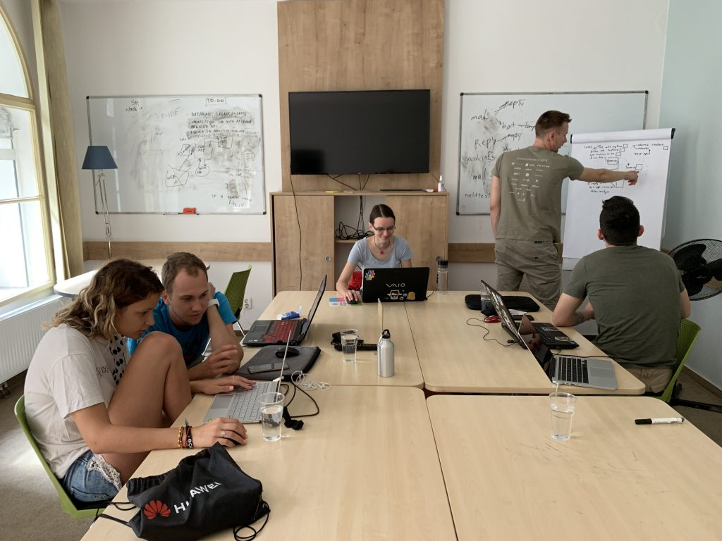 Team Four working in the co-working space.